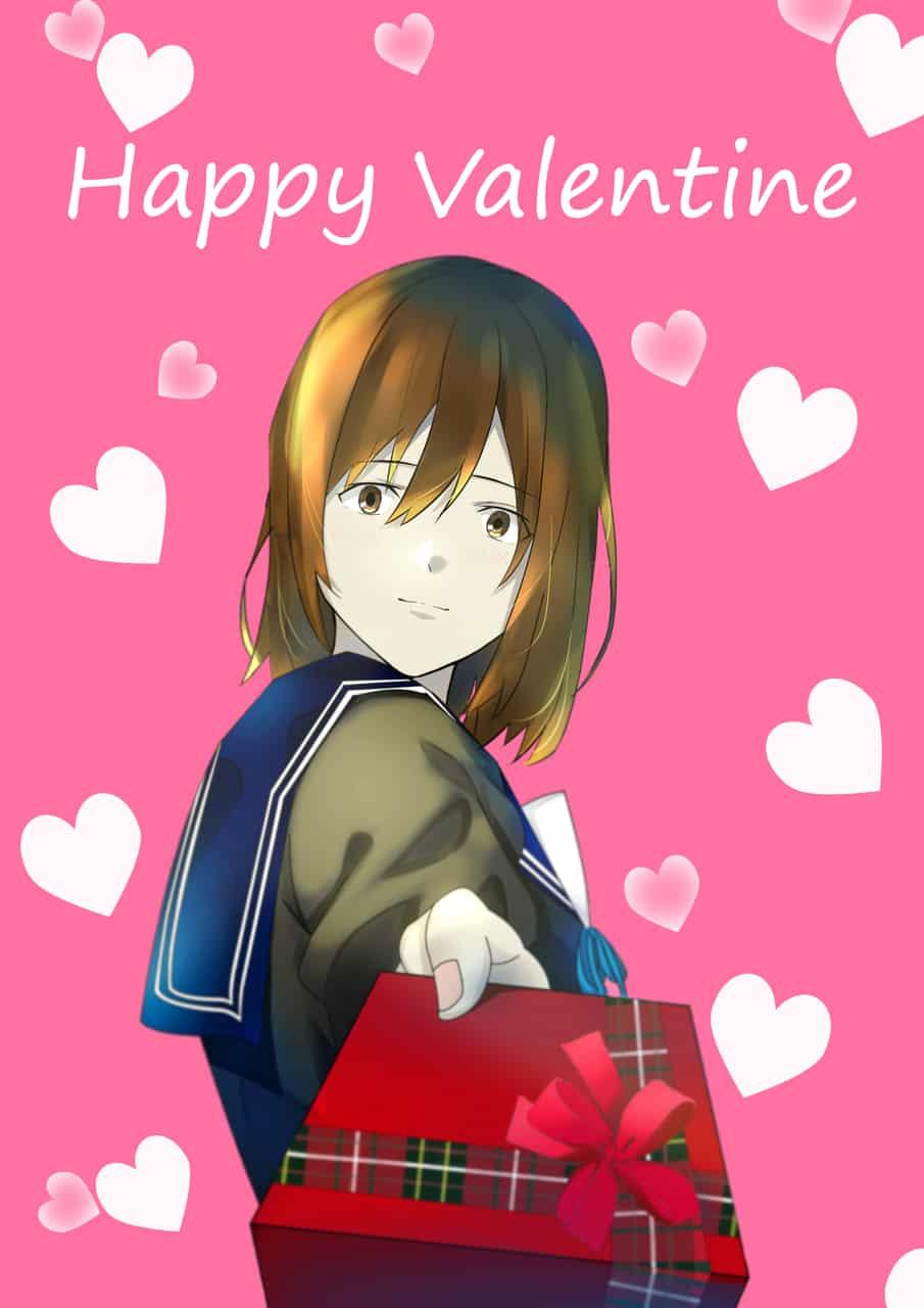 Happy Valentine Illust of summersky Feb2020:VDAY art girl oc cute illustration digital