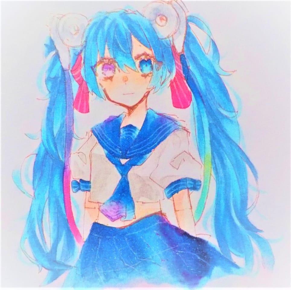 °˖✧◝(⁰▿⁰)◜✧˖° Illust of めだまやき#テスト優先期間中 Copic angel kawaii hatsunemiku アナログ 宇宙柄 oc