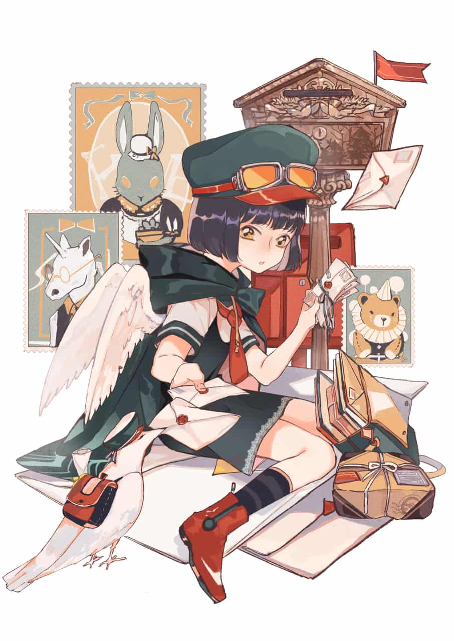 信使 Illust of Gene 郵便屋さん girl pigeon 手紙
