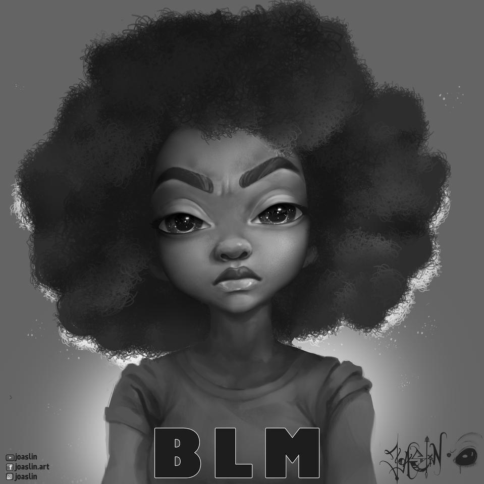 Racism ain't cute ⚫️  Illust of JoAsLiN sad art blacklivesmatter girl blackandwhite black digital blm illustration Grey oc