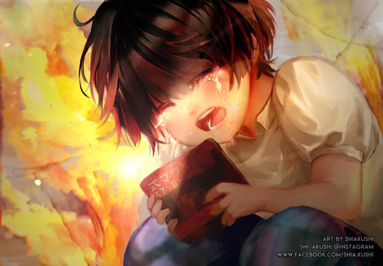 Setsuko Illust of shiakushi sad fanart angry anime