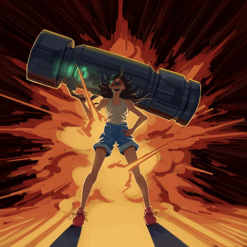 A do this in your style challenge for havtza Illust of Aeyvan rocket girl havtza50k explosion Heroic illustration havtza cannon