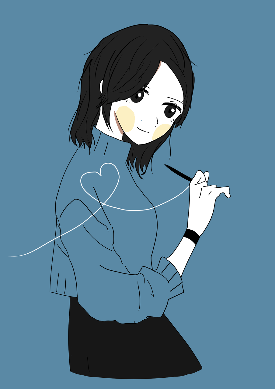 Blue Illust of YUN-C Post_Multiple_Images_Contest girl yun-c bule 1hDrawingChallenge