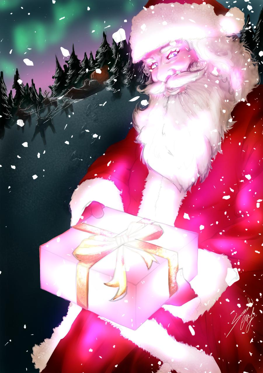 Shiny Santa Claus Illust of Somachi MF96 December2020_Contest:Santa oc original Santa semirealism background boy Beard Christmas