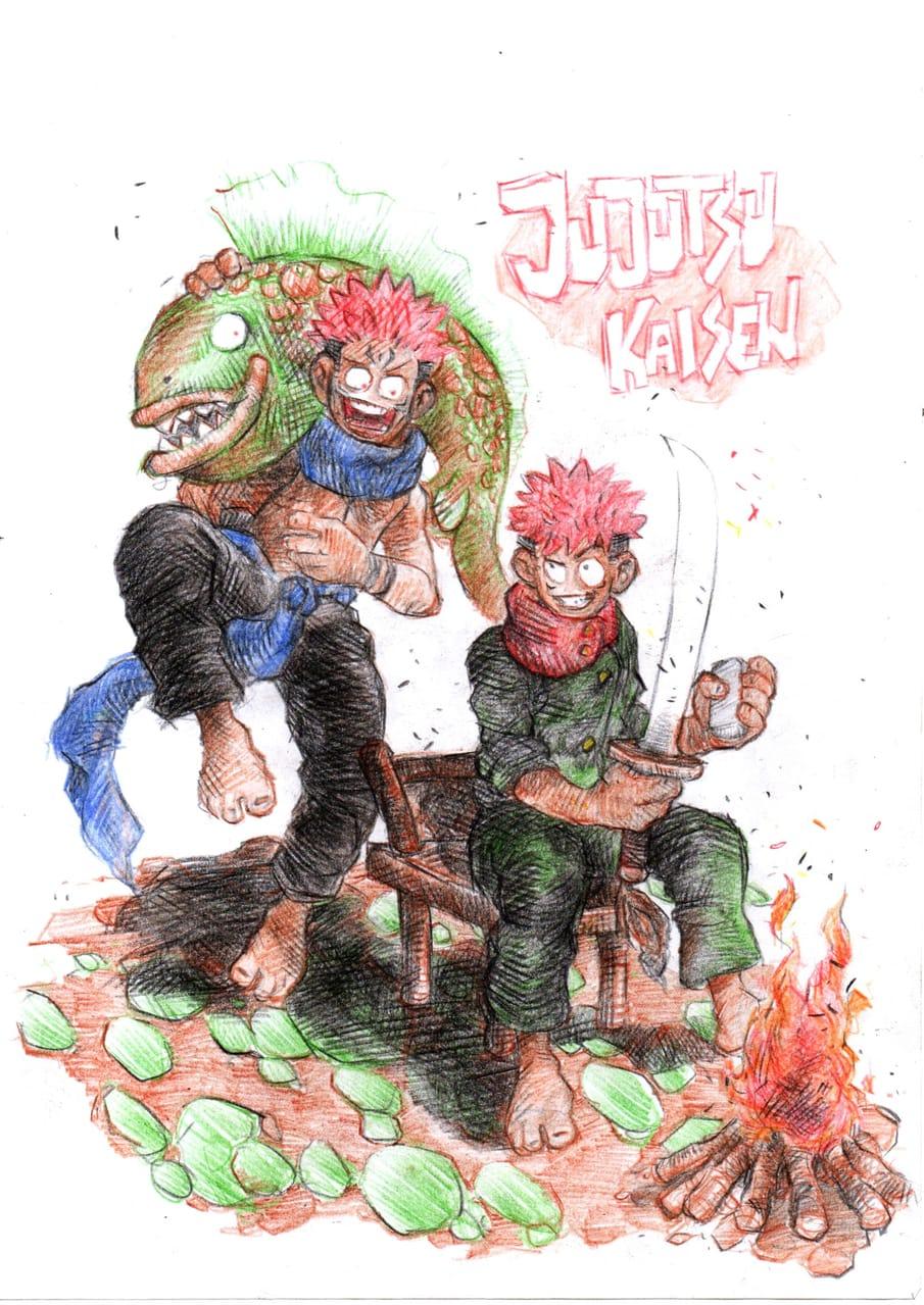 Jujutsu kaisen Illust of Vidya saputra Yuji_Itadori JujutsuKaisen Megumi_Fushiguro Nobara_Kugisaki JujutsuKaisenfanart