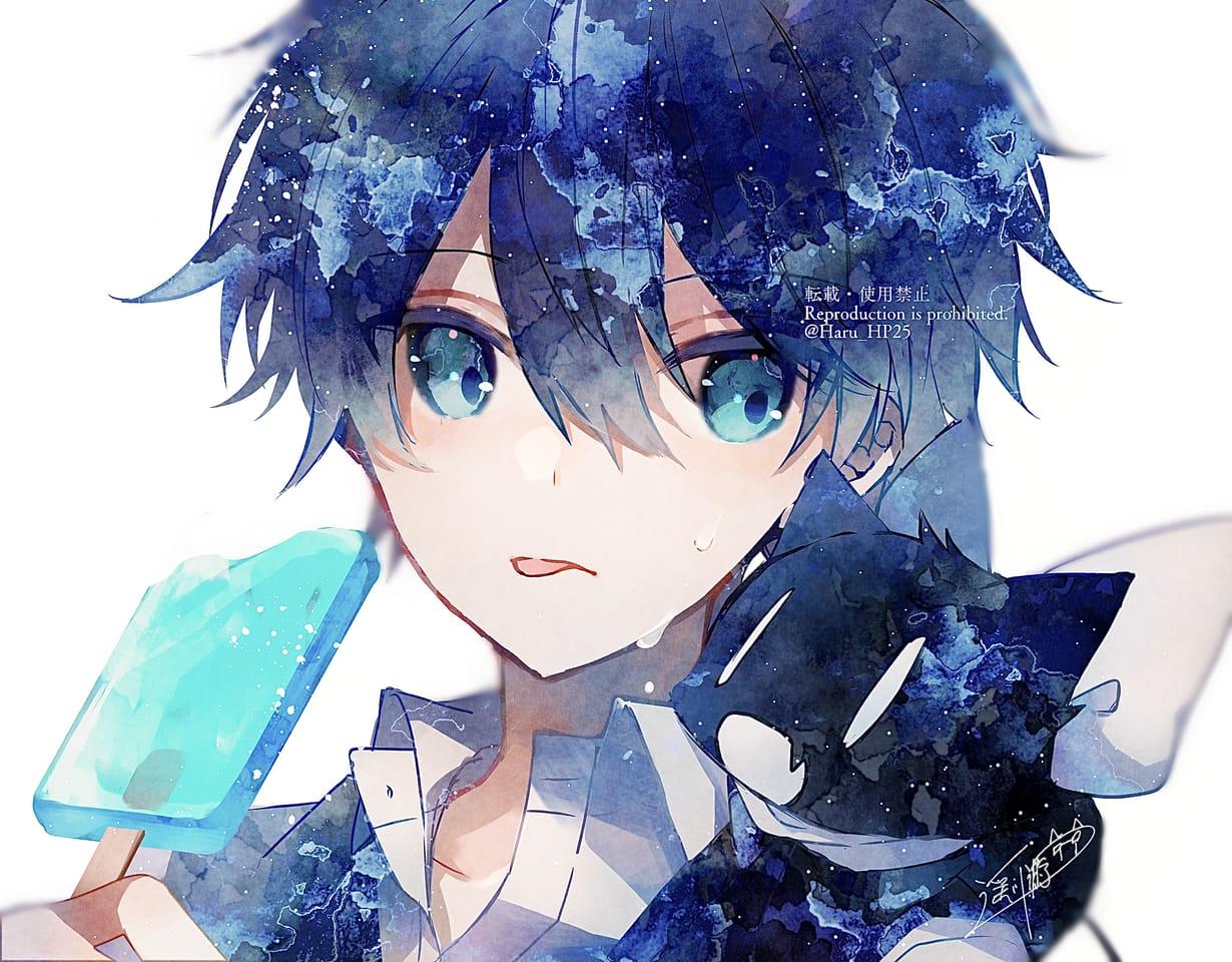 ボクにも頂戴! Illust of 遥川遊 watercolor blue oc original summer オリジナル創作 boy