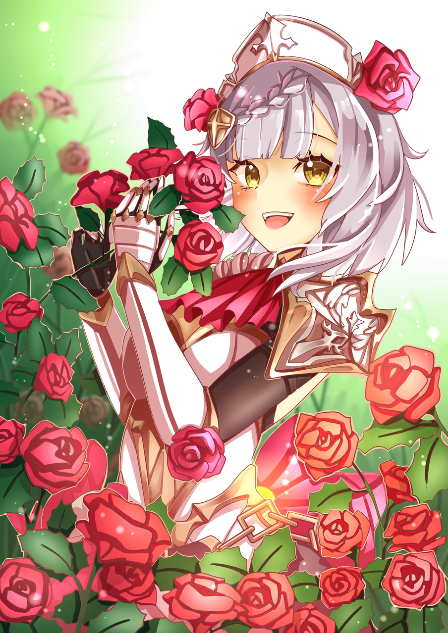 Noelle Illust of Akira Luca drawing GenshinImpact girl digital cute illustration fanart flowers medibangpaint pink