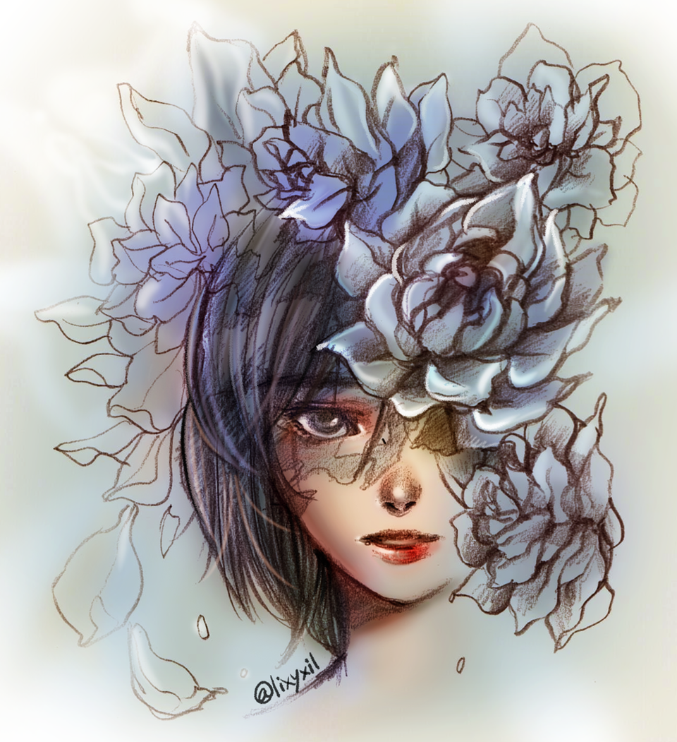 Her flowers Illust of E:jel drawing painting flower illustration girl art