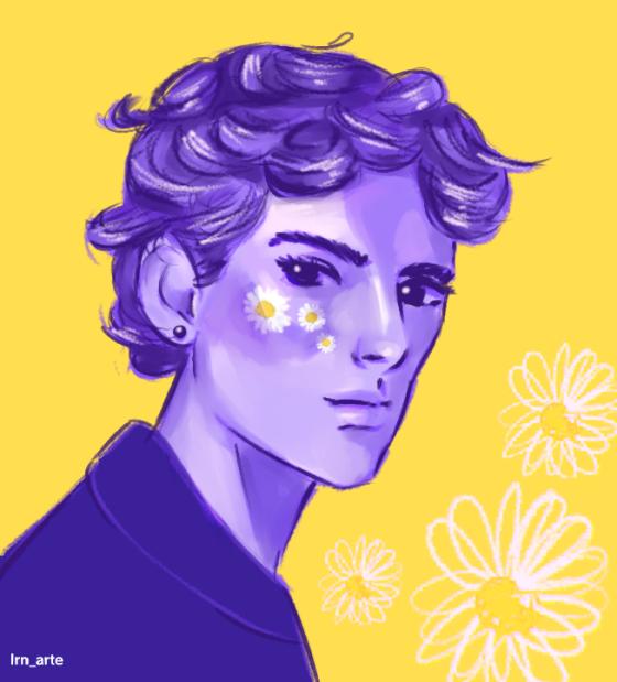 Flower Illust of lrnart97 medibangpaint5000 orange blue flower boy medibangpaint yellow