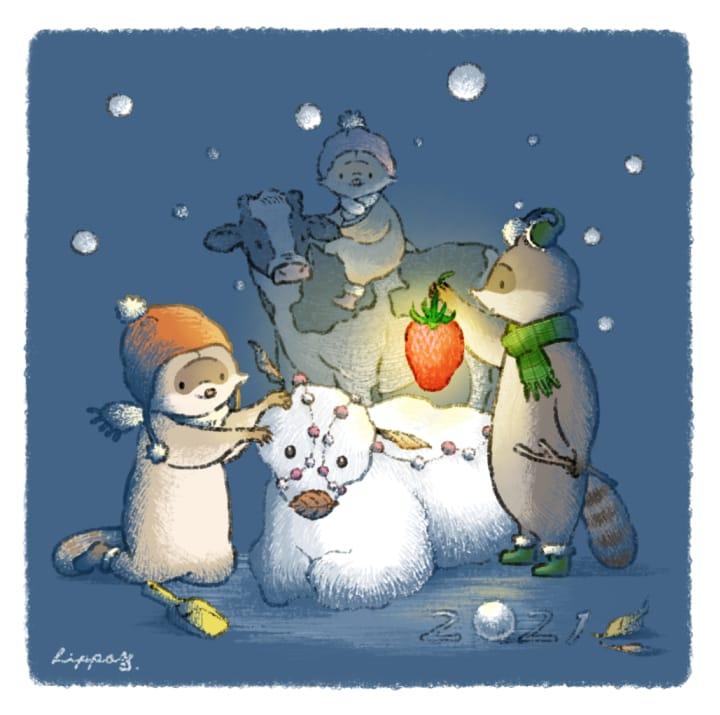 年賀イラスト2020 Illust of ヒポポンゴ oc animal 牛 snow 年賀状 Raccoon winter