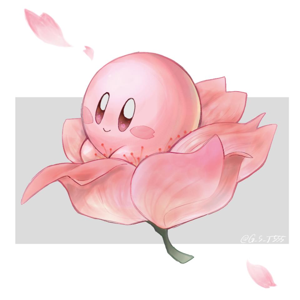 桜カービィ🌸 Illust of goma medibangpaint sakura Kirby kawaii 春 Kirby'sDreamLand