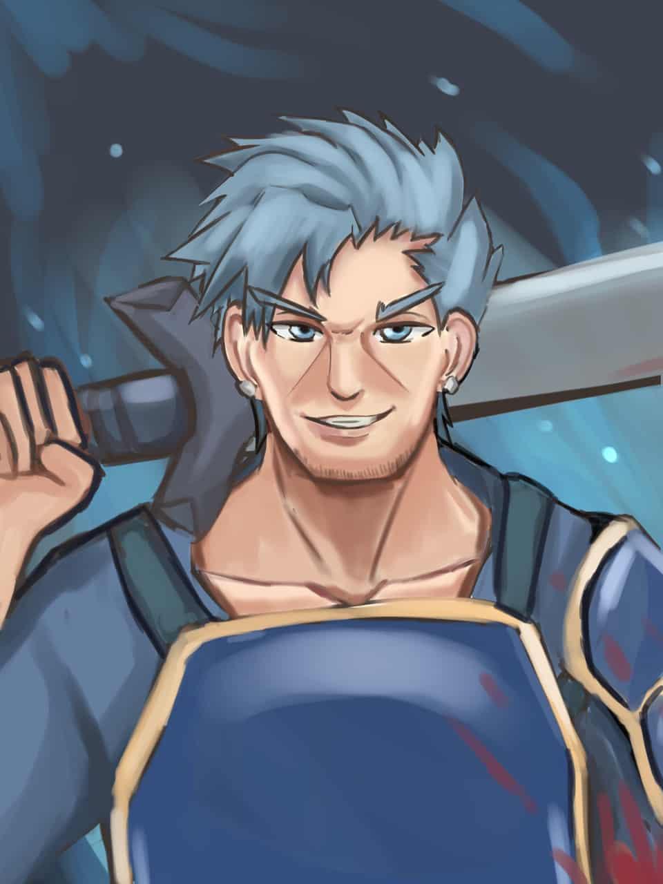 Bercouli Illust of Pempem sci-fi fantasy anime blue cool portrait fantasyart Sword_Art_Online pastel