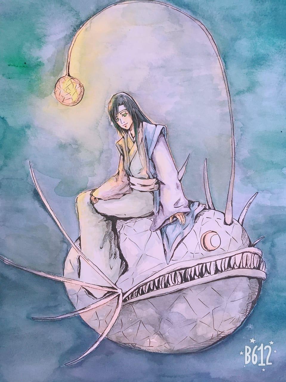 Lantern fish and boy Illust of Tea & T AnalogDrawing original watercolor illustration