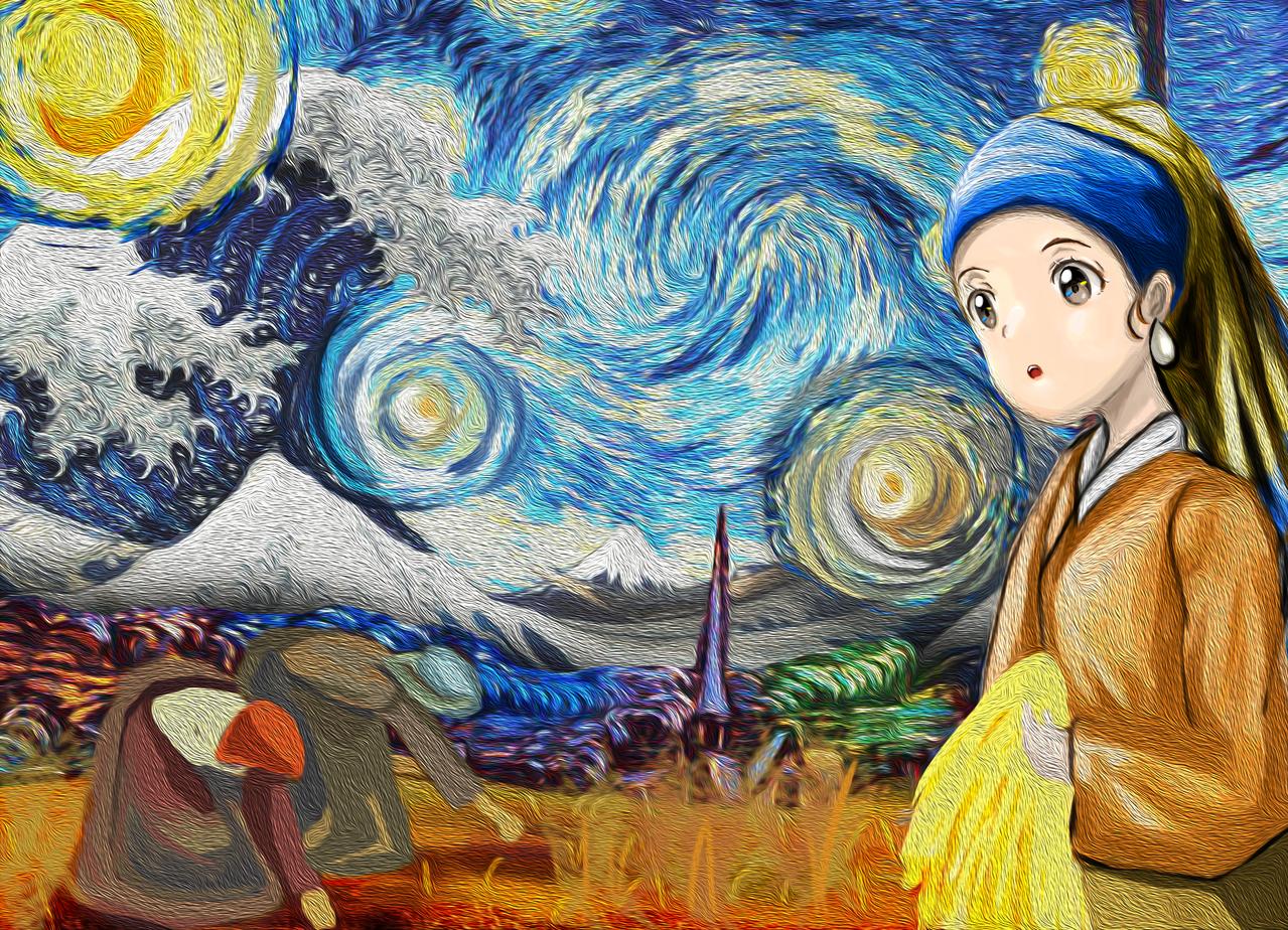 Travel Illust of 四眼✰金魚 MasterpieceFanart 拾穗者 星夜 神奈川沖浪裏