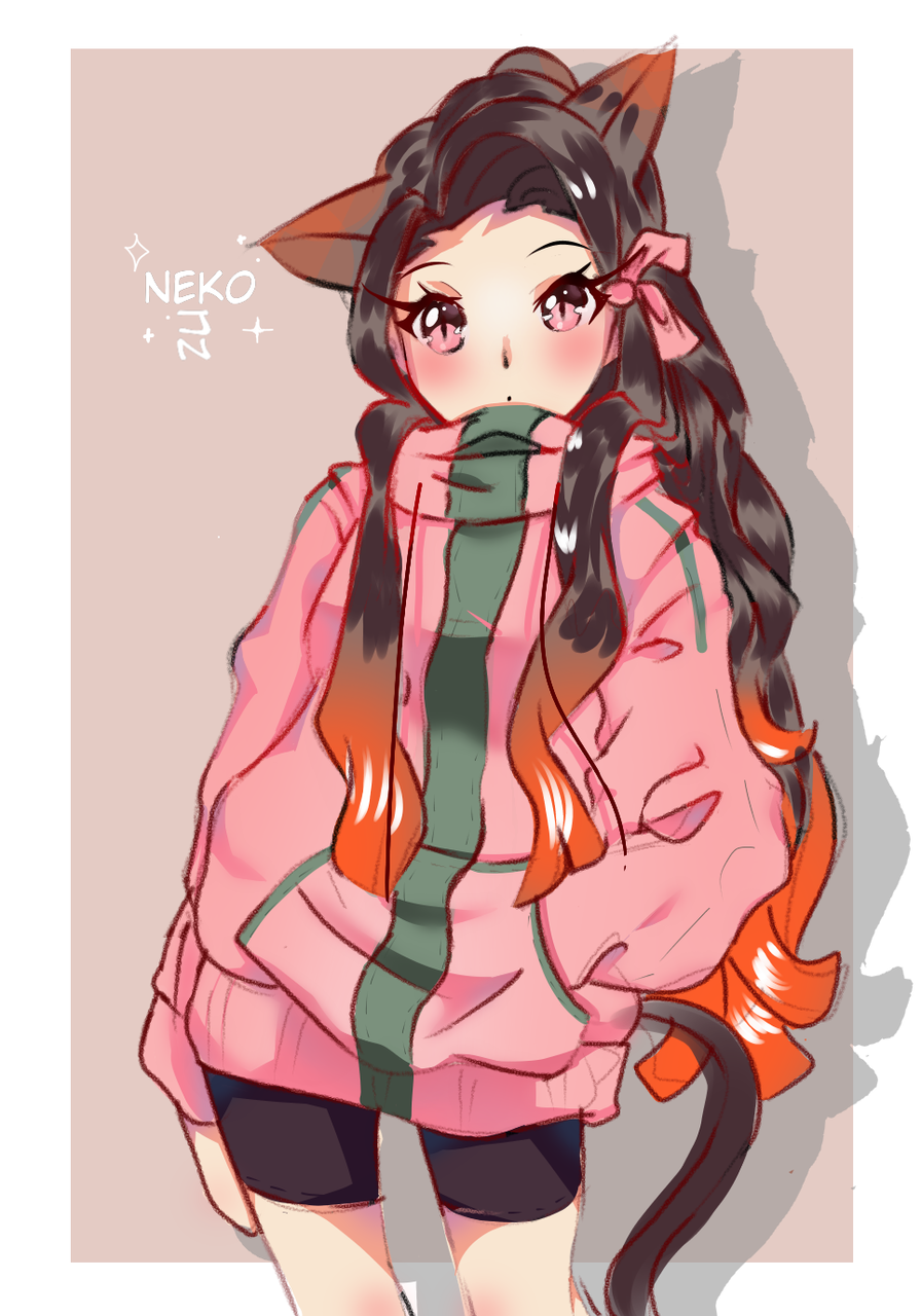 Nezuko chan a normal girl u know. Illust of Fari DemonSlayerFanartContest fanart cat KimetsunoYaiba cute girl mordern KamadoNezuko medibangpaint