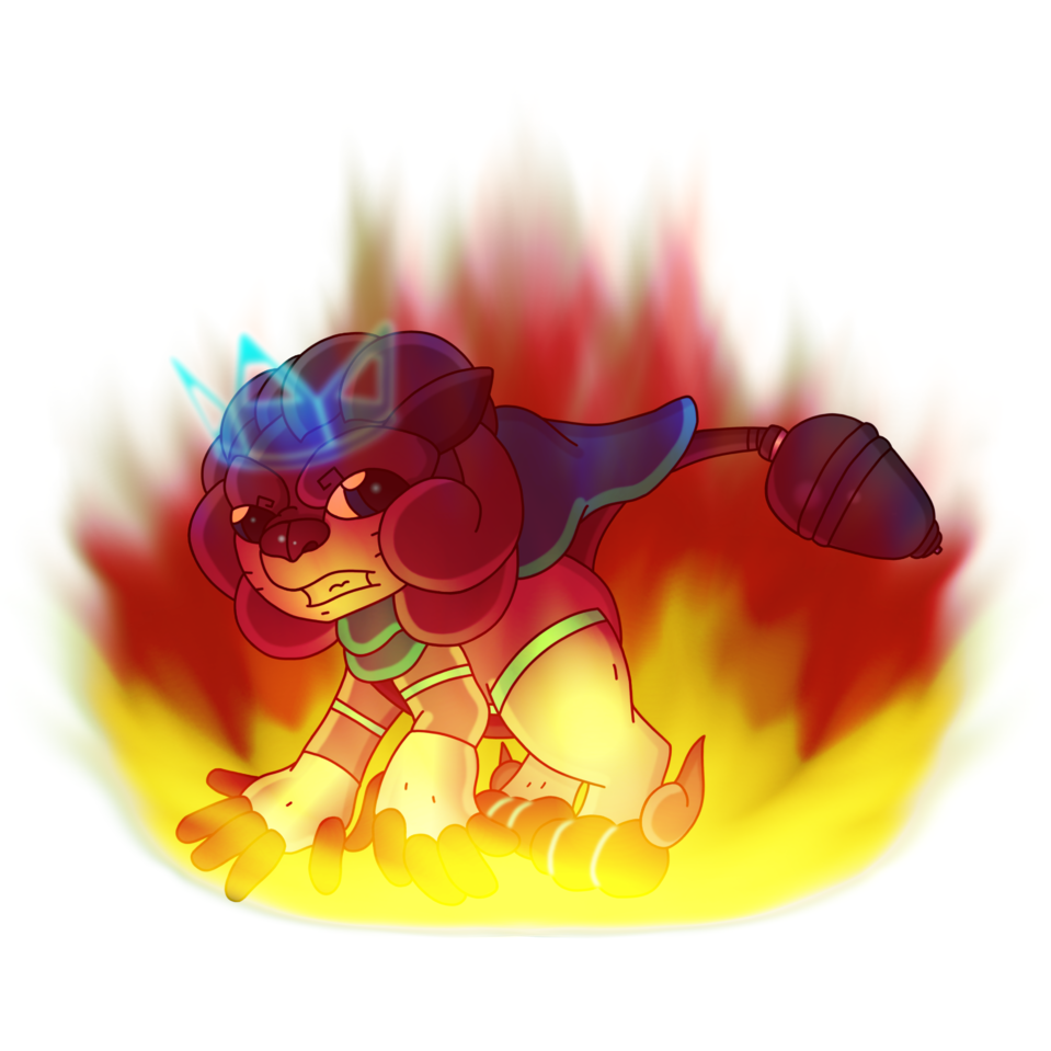 Burning Bright Future, Blank Background Illust of CopperNeon HuionDesign blue Lion animal furry white anime cat fire kawaii cute