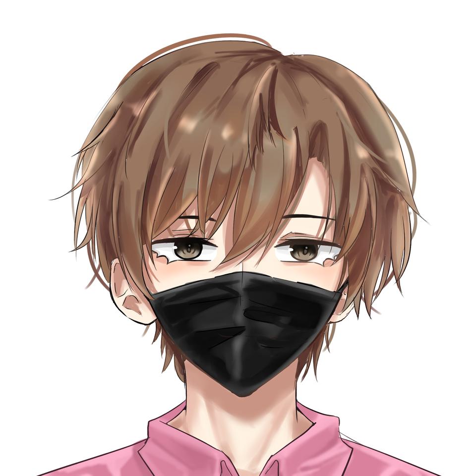 Sato san(mask on) Illust of 褲褲 IconCampaign male illustration mask digitalpainting medibang pink 黒マスク illustrations black