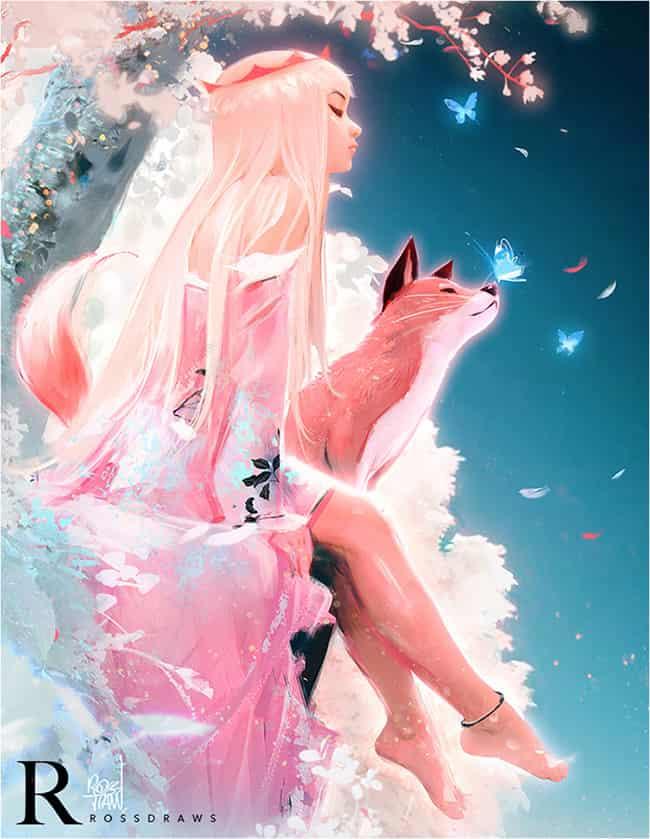 RedrawROSSDRAWS Illust of YAN镜猫 樱花 girl 眼镜猫 仿画 狐狸 夜晚 RedrawROSSDRAWS rossdraws 电绘