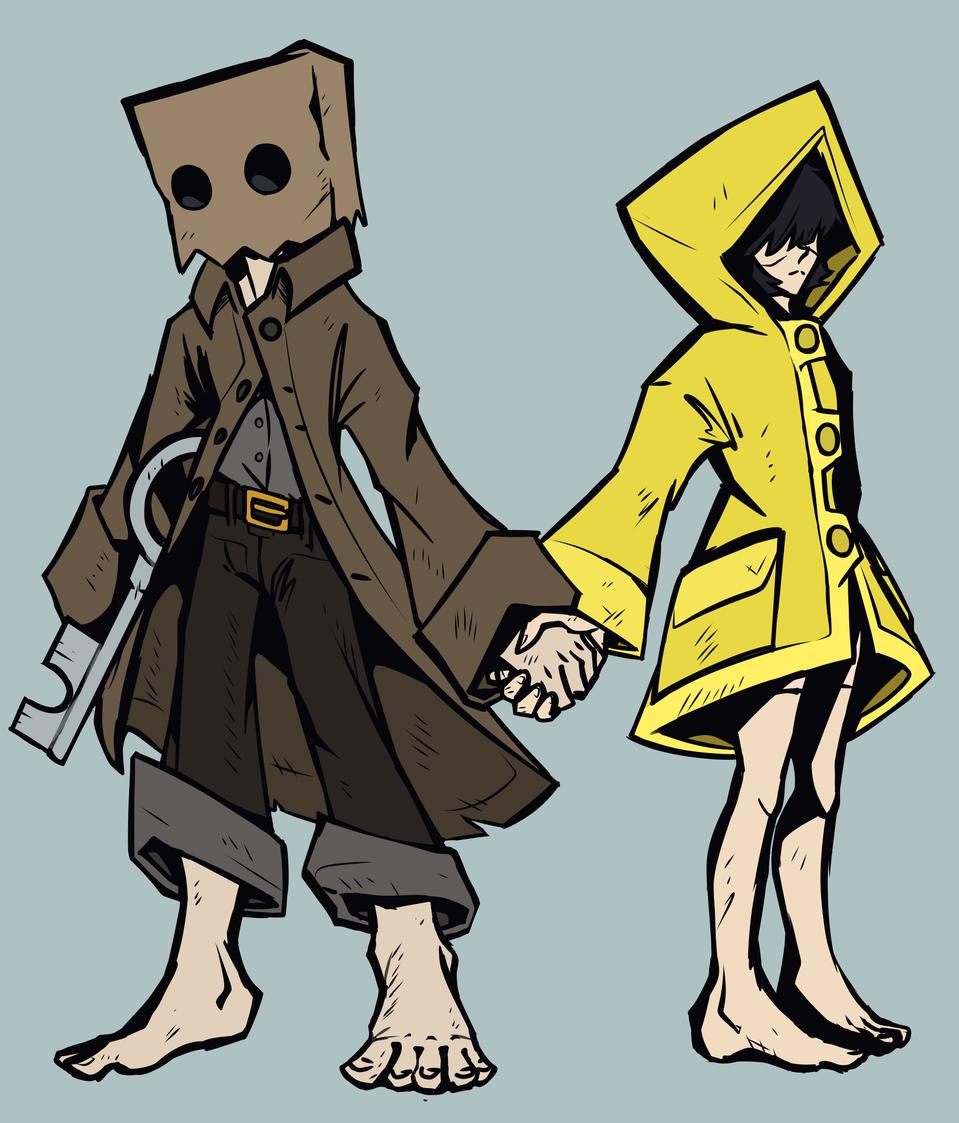 Mono and Six Illust of Squiggle Liggle illustration fanart littlenightmares2 videogame digital drawing littlenightmares rain