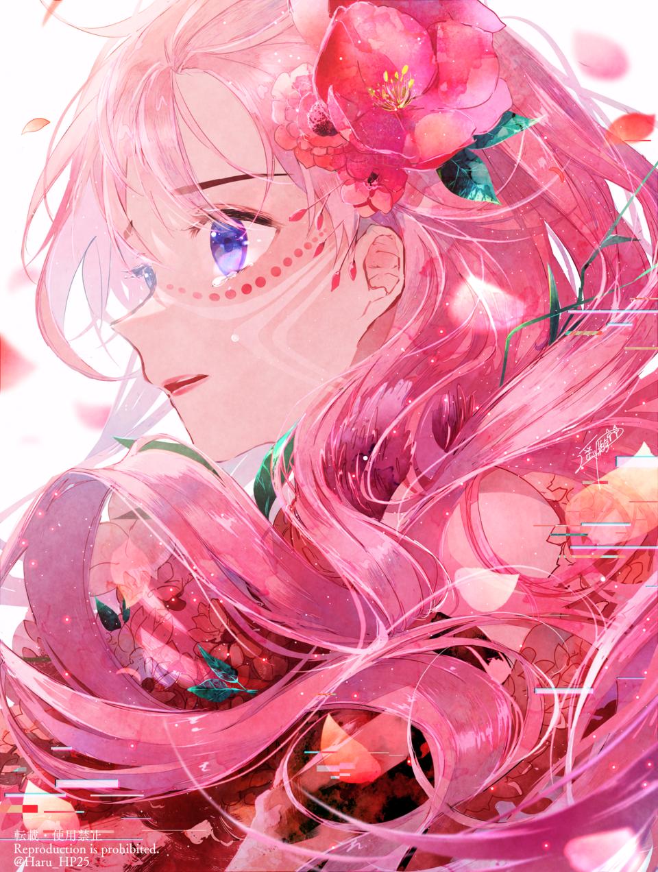 Belle Illust of 遥川遊 illustration 竜とそばかすの姫 fanart movie おんなのこ pink watercolor sideface flower art