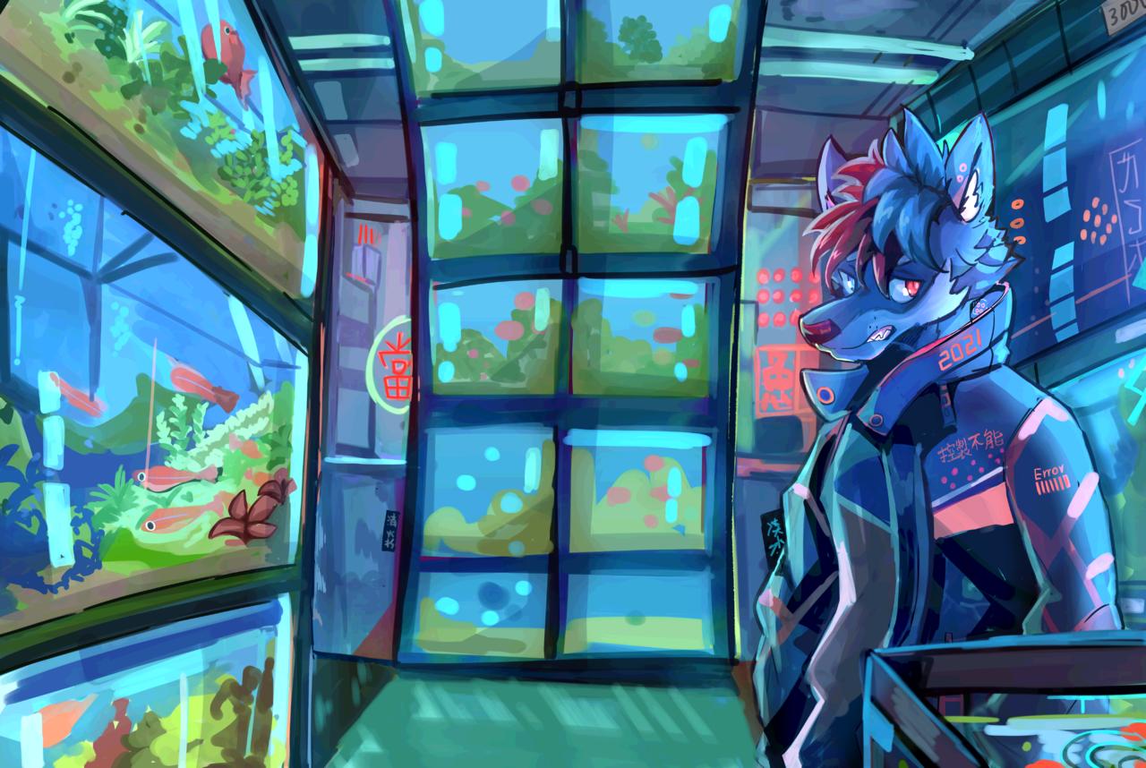 2021 Illust of 肯尼吉 January2021_Contest:OC ART_street_Illustration_Book_Contest background blue fish furry wolf 獸人 水族館