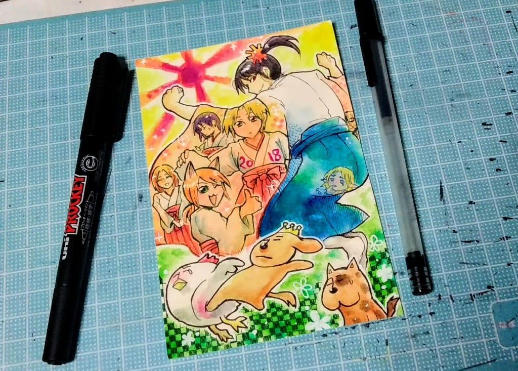 2018年と2006年の年賀状 Illust of どべび AnalogDrawing original アナログ oc 年賀状 水彩色鉛筆