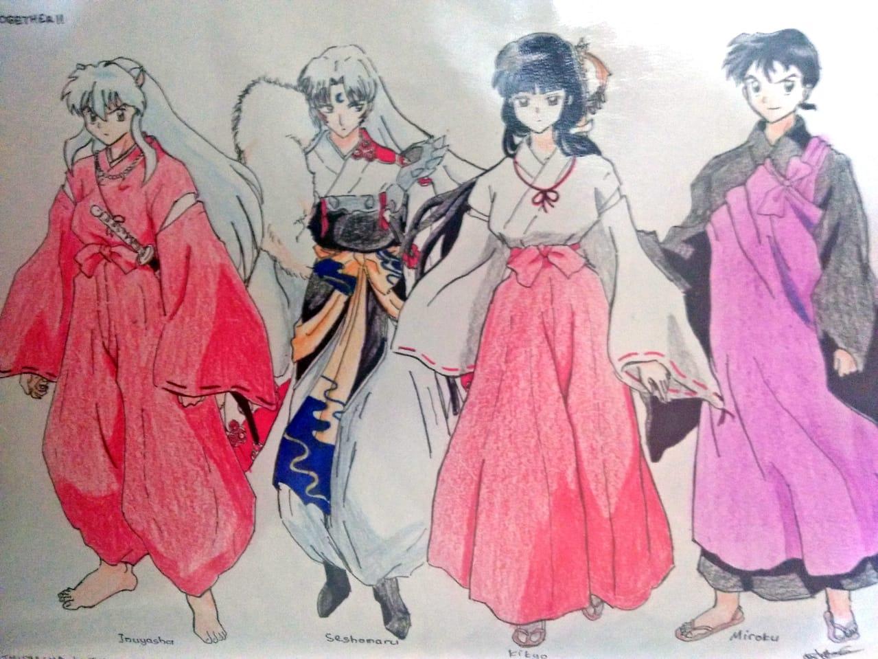 Inuyasha-Seshomaru-Kikyo-Miroku Illust of fx1ndr46 AnalogDrawing Inuyasha fanart fx16 Kikyo animemanga drawing fx1ndr46 Seshomaru miroku