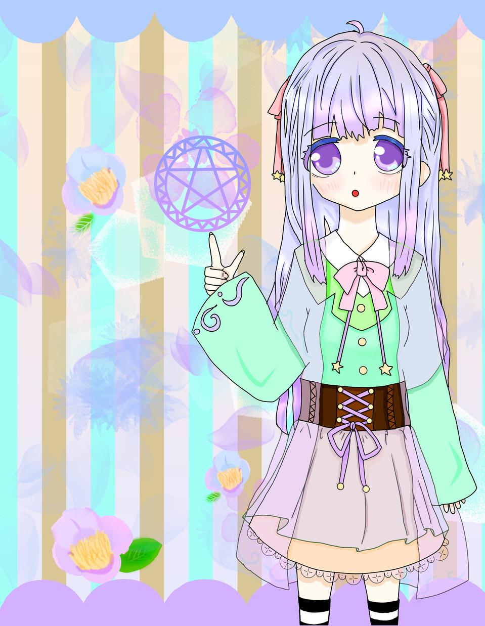 魔術師少女 Illust of 冬路くじら パステルカラー girl flower kawaii medibangpaint purple original character handdrawn oc