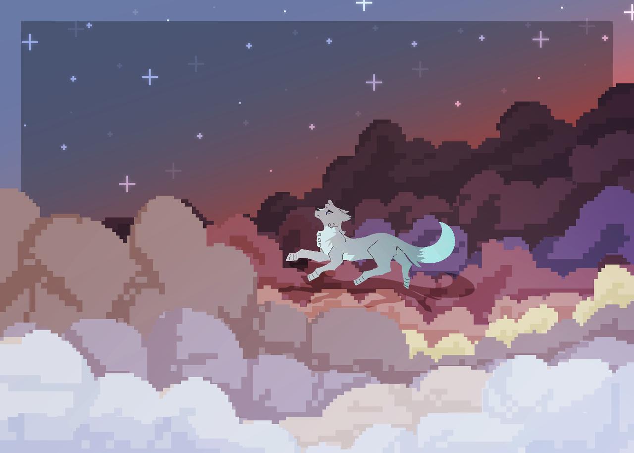 Night Among the Clouds [OLD] Illust of AurumLupus fantasy cat_ears cat clouds oc medibangpaint pixelart background digital