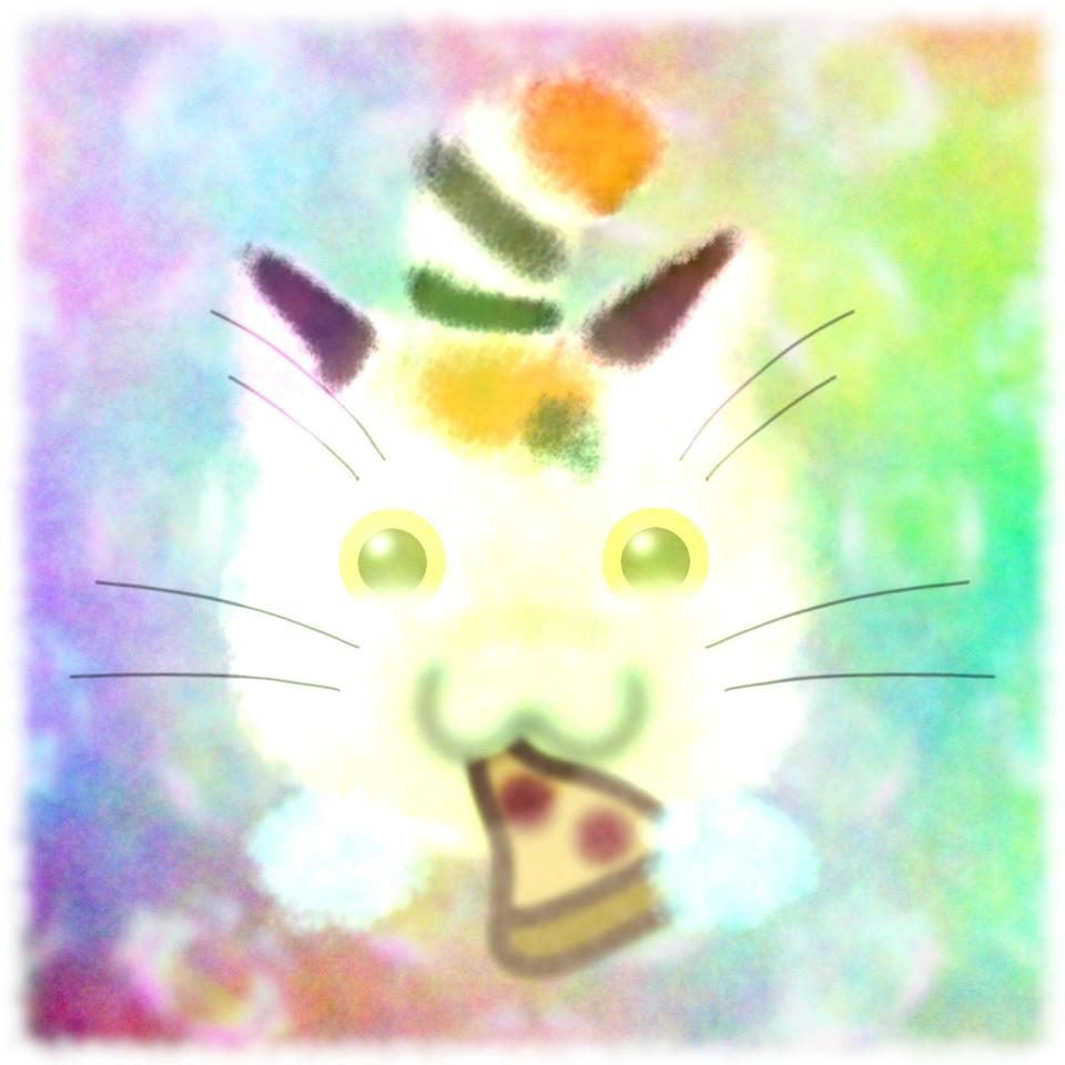 Pizza Cat Illust of CopperNeon September2020_Contest:Furry October2020_Contest:Food watercolor rainbow animal kawaii cartoon anime cat pastel color cute