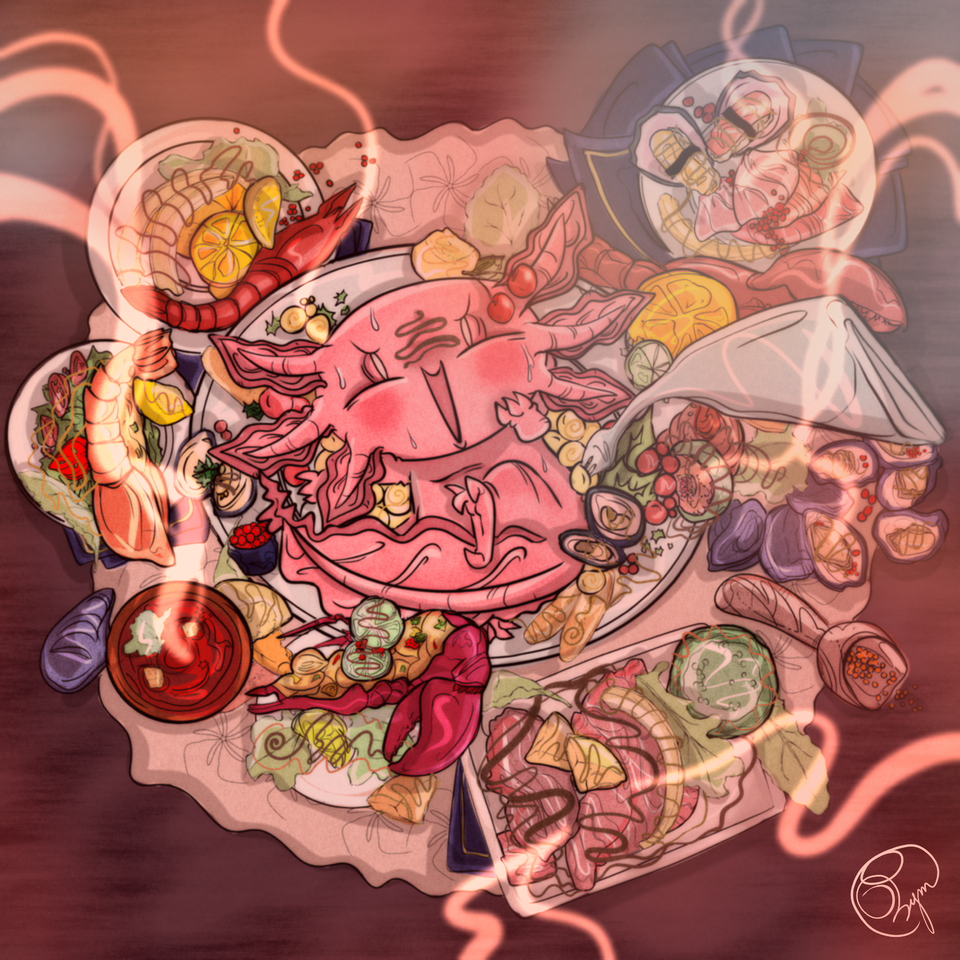 !! Illust of 33 October2020_Contest:Food soft summer Axolotl food funny tablet