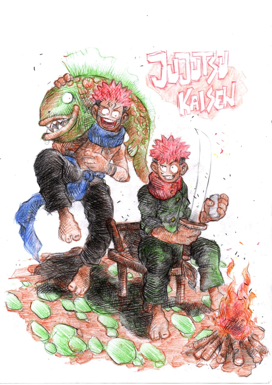 Jujutsu kaisen Illust of Vidya saputra Yuji_Itadori JujutsuKaisen Megumi_Fushiguro Nobara_Kugisaki