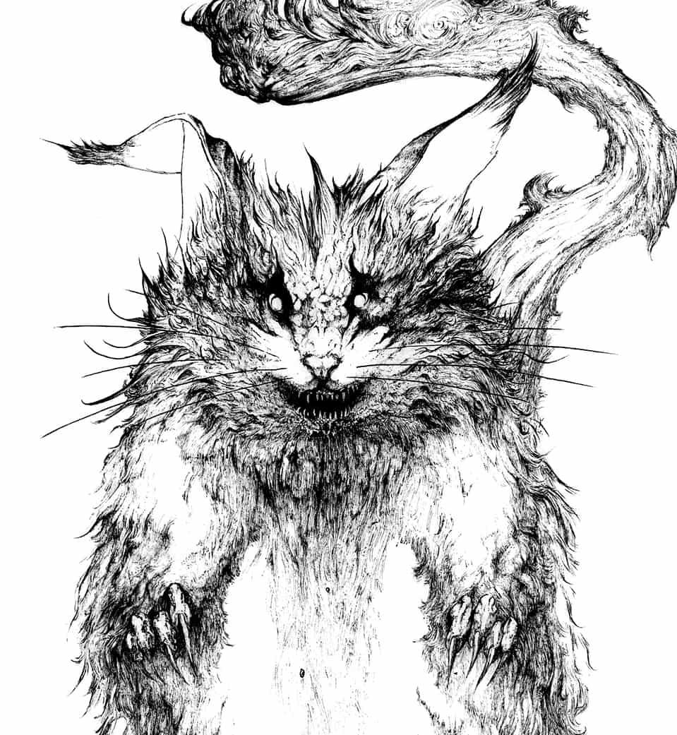 大鼠 Illust of 竹林一 March2021_Creature February2021_Fantasy アナログ ペン画 鼠 monster ネズミ 大鼠 怪獣 獣 original