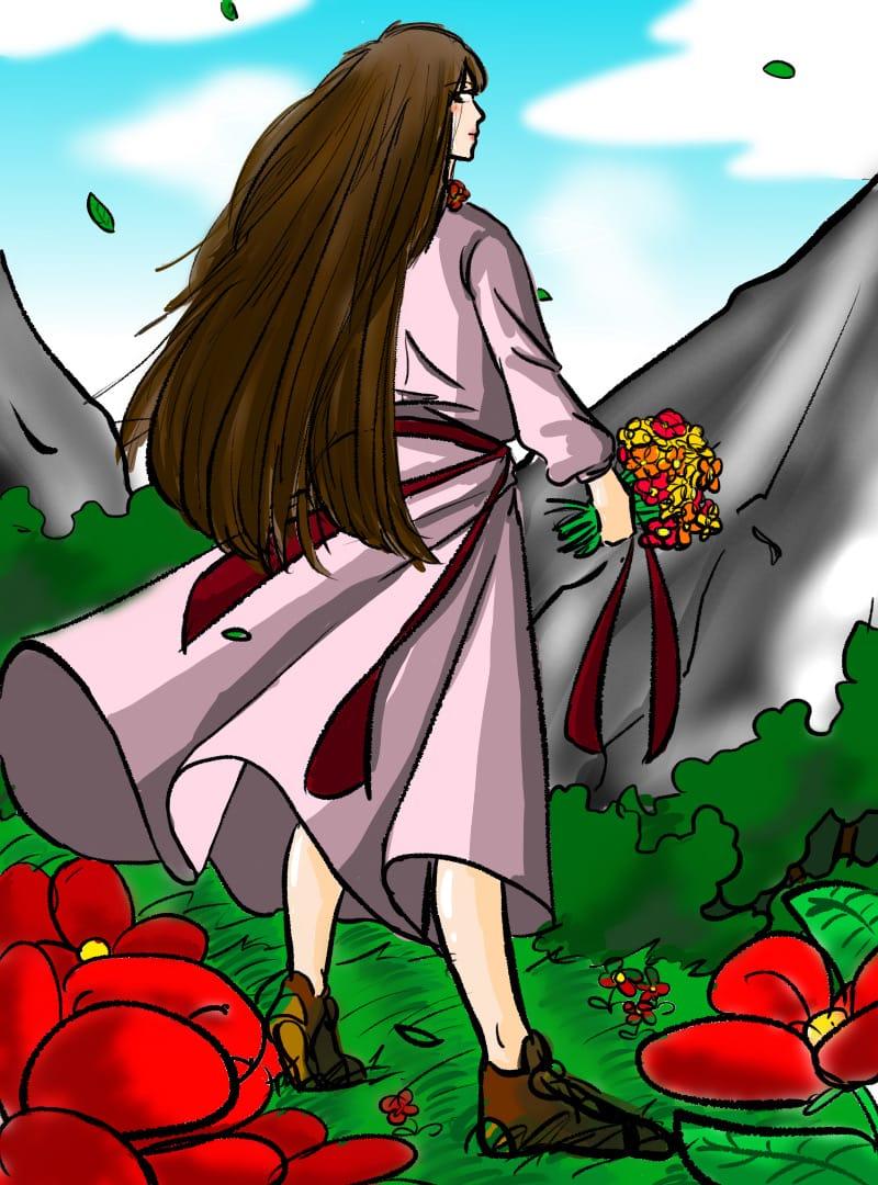 Flower girl Illust of 초록연두 April2021_Flower girl