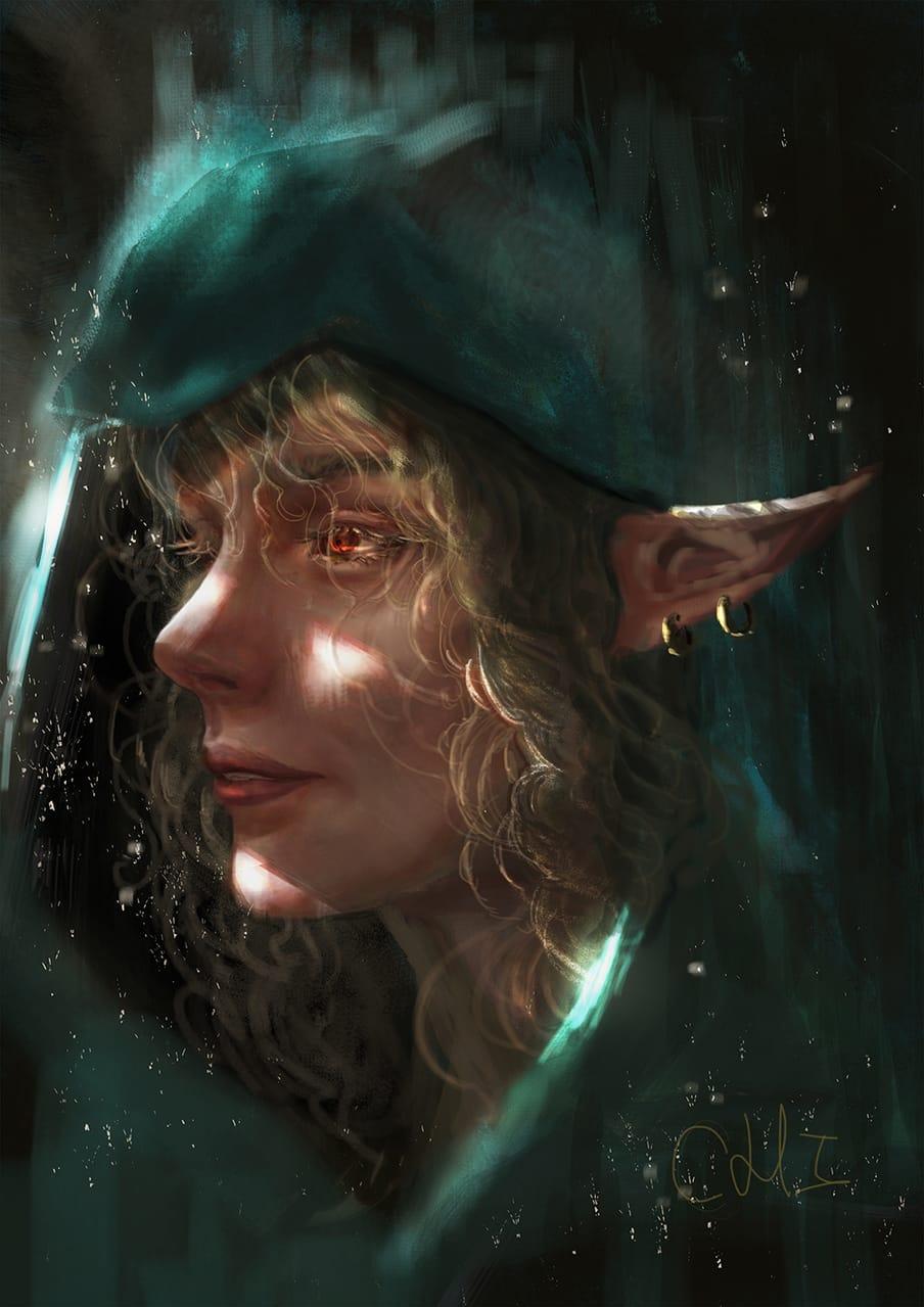 elf Illust of CHI-NAI February2021_Fantasy illustration girl hair elf woman female eyes original
