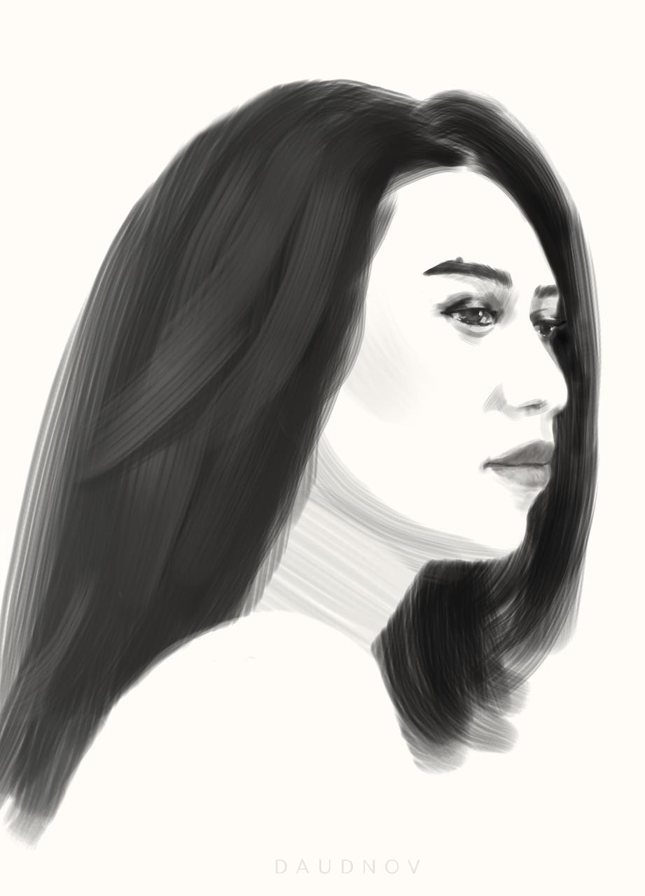 Q Illust of daudnov medibangpaint sketch girl beauty portrait female gf blackandwhite love