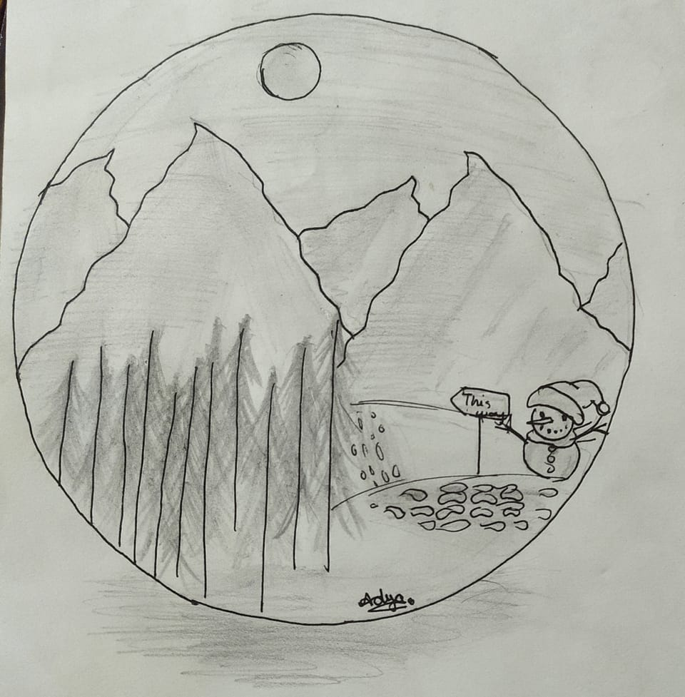 Winters Mountain  Illust of Adya December2020_Contest:Santa new adya art Winters w random black mountains winter