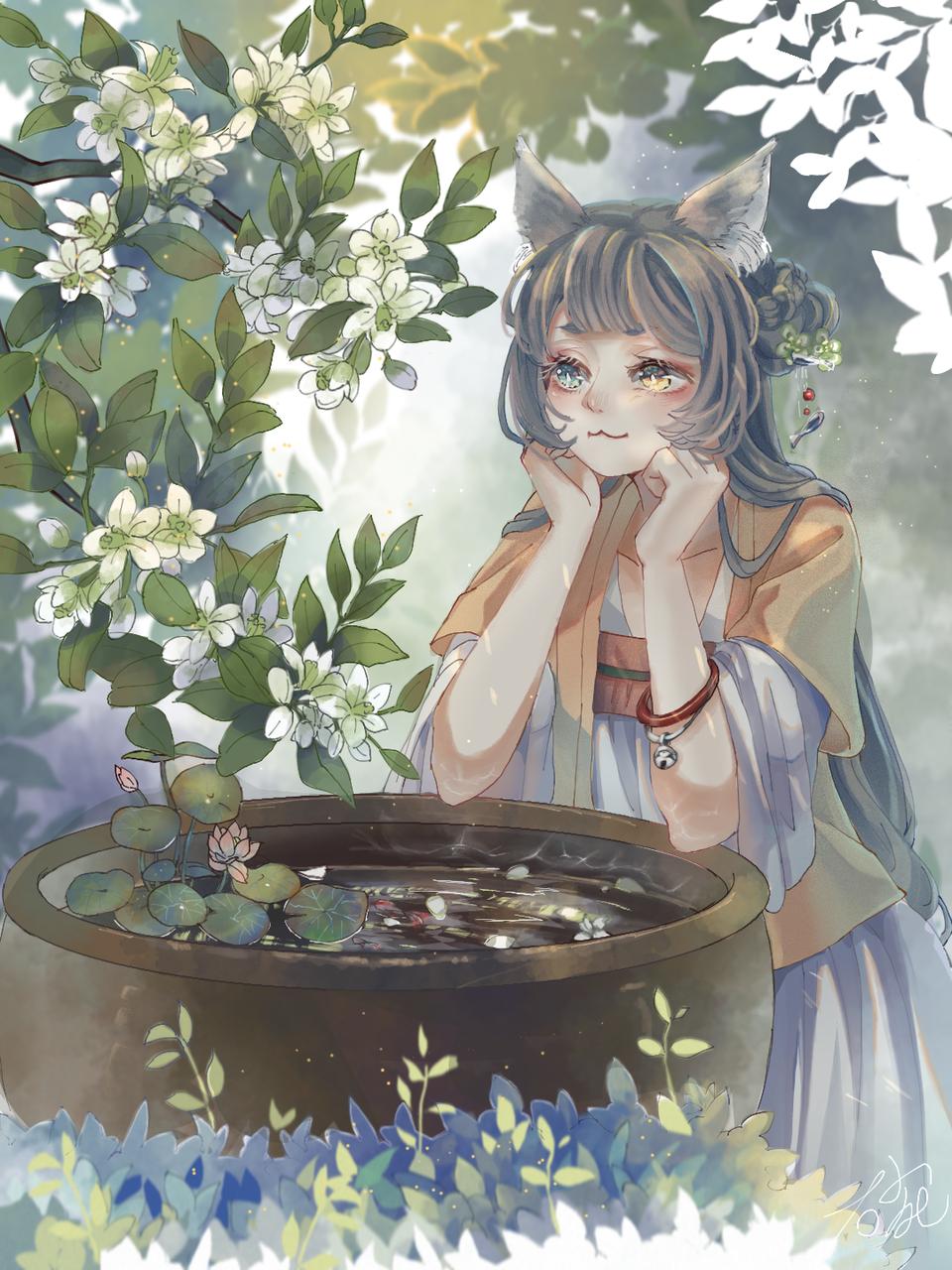 观锯树有感 Illust of 那我男神就张培基吧 medibangpaint original girl 柚子花 cat_ears 中国风