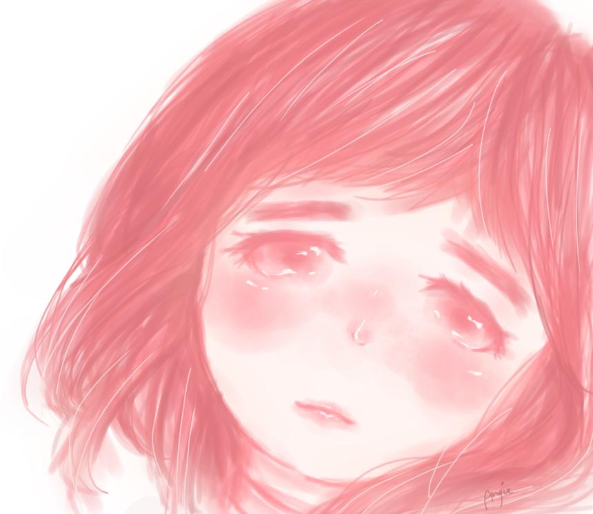 Dunno lol Illust of angiruu medibangpaint girl teary eyes oc pink watercolorwet sad
