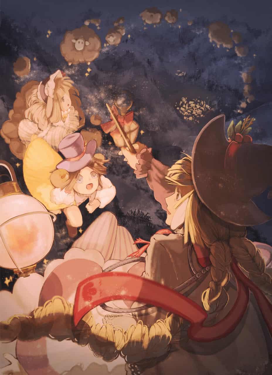 Sweet Dreams! Ꮚ・ꈊ・Ꮚ Illust of Sago September2020_Contest:Furry Halloween girl 奇幻 painting sheep boy illustration 魔法 night original