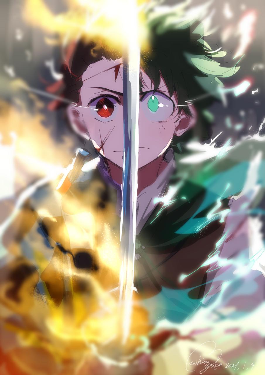 HERO'S Illust of 星野 ゆか@再浮上 superhero boy 剣 🎶🎶🎶💕💕💕👍👍👍 doodle KimetsunoYaiba MyHeroAcademia