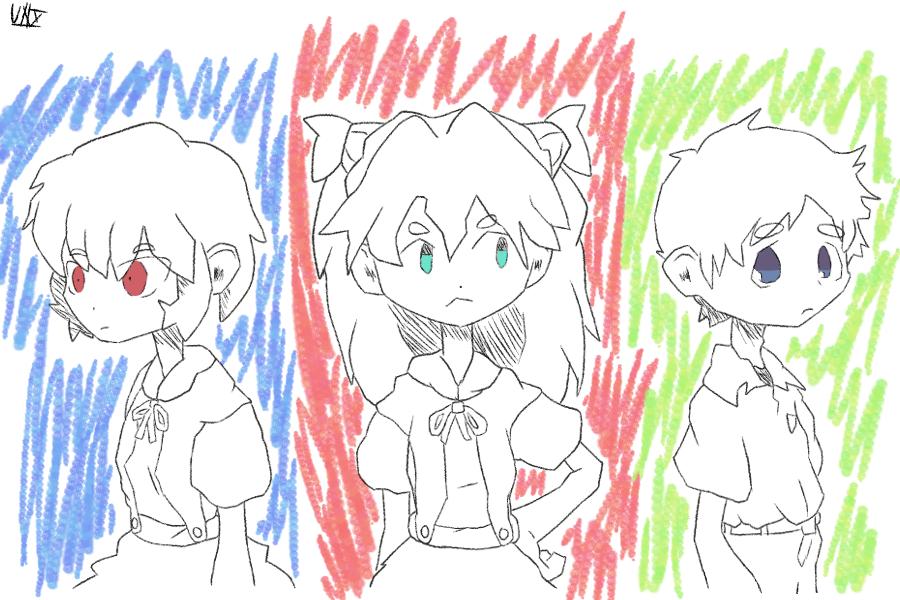 the 3 Illust of Uniplantiso shinjiikari doodle asukalangley EVANGELION reiayanami