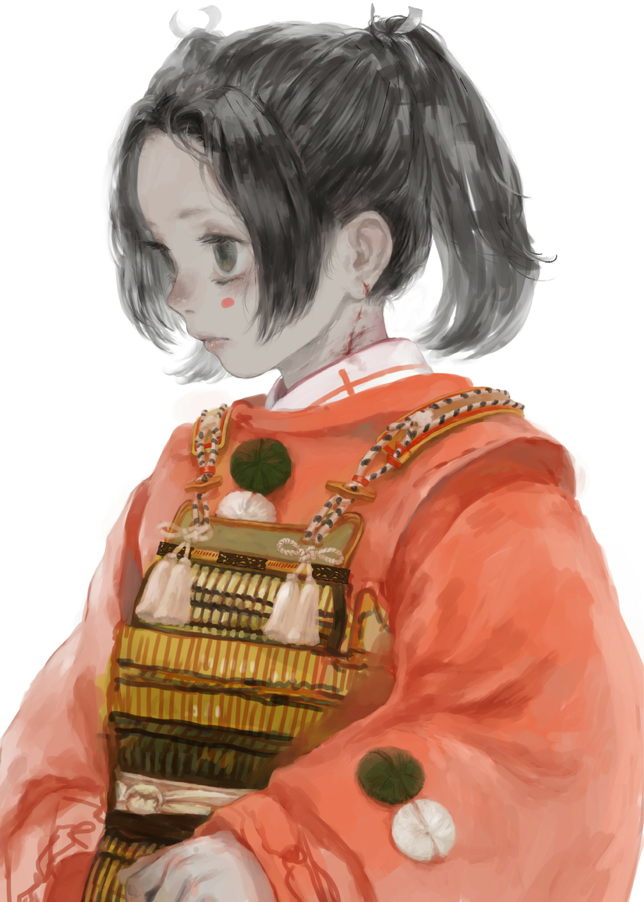 モノノフ Illust of 倉敷藤花 medibangpaint original kimono 傷 impasto blood