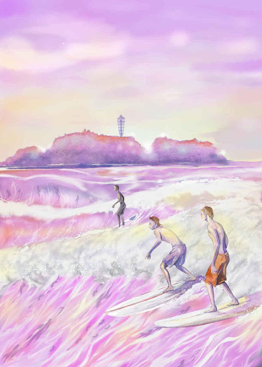 🌊紫の中で Illust of beach st boy summer ウエ~ブ sea 夕陽 サーフィン ロングボード 江の島 purple