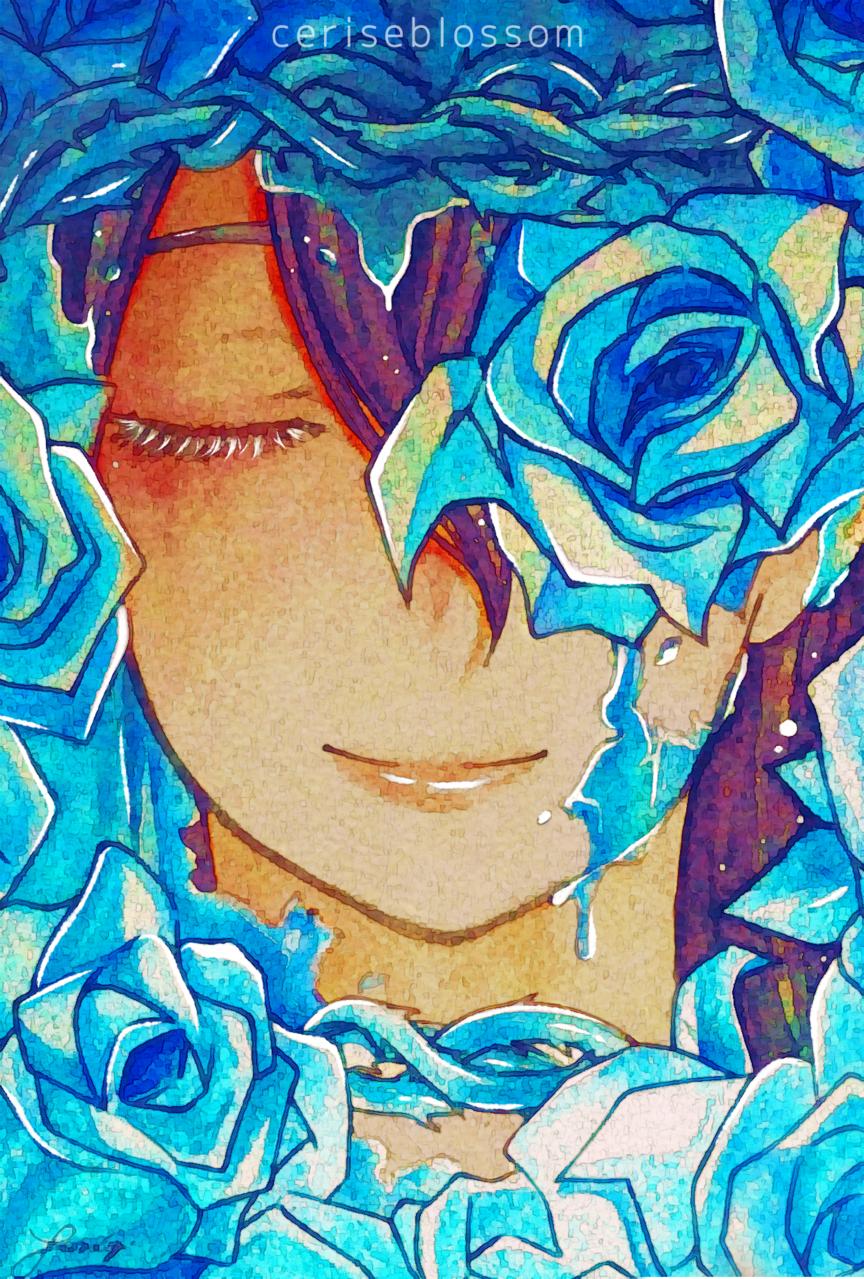 Frozen Illust of ceriseblossom April2021_Flower anime blue oc original illustration medibangpaint