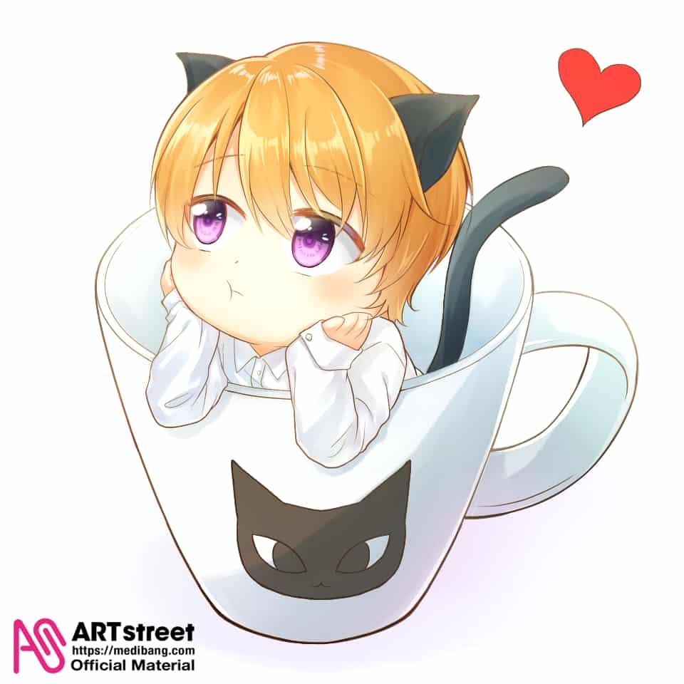 cat boy in the cup Illust of YUKI tracedrawing3rd chibi 乙女 貓 cute illustration 日式 boy