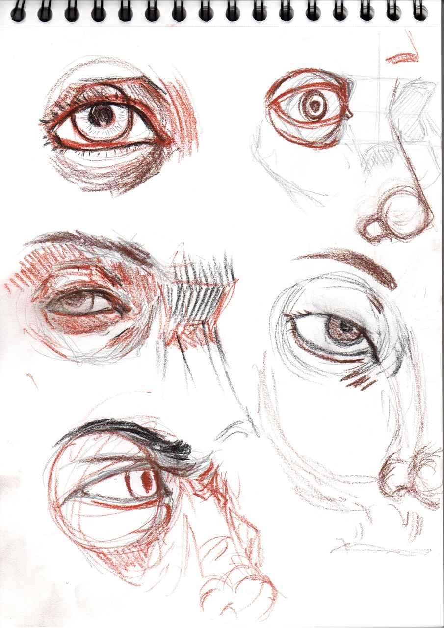 exercice 1 (visage) Illust of Hard-Jaw face art training crayon eyes realiste
