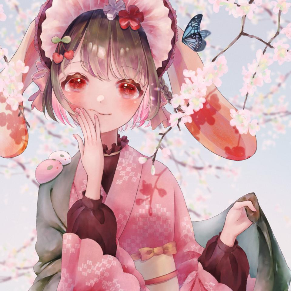 さくらもち🐰 Illust of 夢丸🙆♂️ April2021_Flower girl スイーツ 蝶々 original sakura kimono good 春