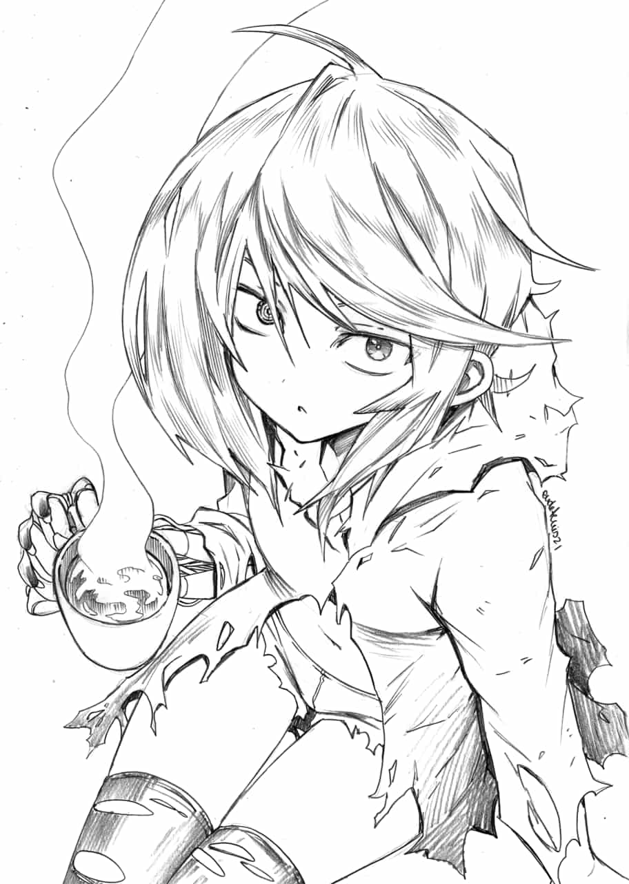 Unnamed Character Illust of EUDETENIS May2021_Monochrome commission NORI EUDETENIS NORINATSU