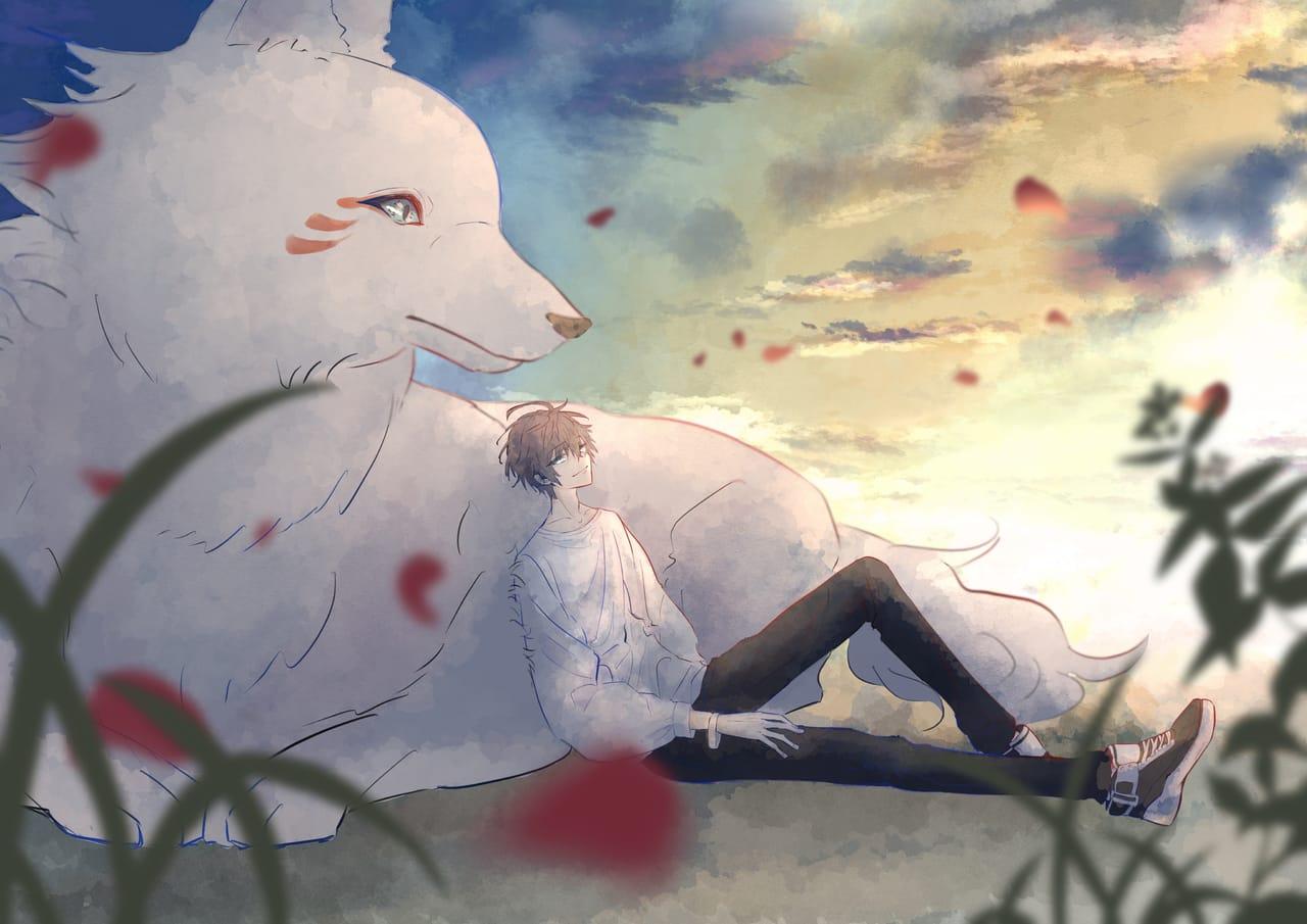 白狼 Illust of 花鳥 August2021_Animal 男の子イラスト original 白狼